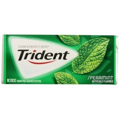 Trident Gum, Spearmint, 18-Piece Packs (Pack of 12) ($8.13) ❤ liked on Polyvore featuring food, comida and food // drinks