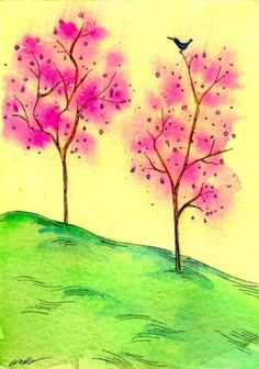 paintings by nicole wong   ... Trees, original painting by artist Nicole Wong   DailyPainters.com