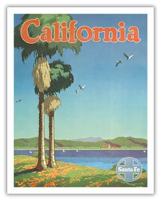 POSTER SUNSHINE BEACH SANTA BARBARA CALIFORNIA GIRL SUN VINTAGE REPRO FREE S//H
