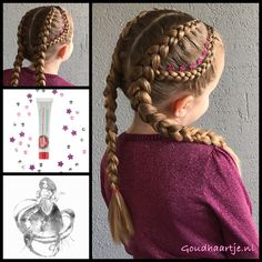 Dutch braids with cute little flowers stuck on with @girlieglue from the webshop www.goudhaartje.nl (worldwide shipping). Hairstyle inspired by: @braidsbyannie2 (instagram) #hair #hairstyle #braid #braids #hairstylesforgirls #plait #trenza #peinando #прич