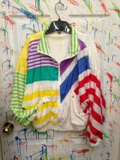 Vintage 80's windbreaker jogging zip up jacket for both men and women size Medium Large White Red Green Multi colored Stripes Motif $28.00 by RagsAGoGo