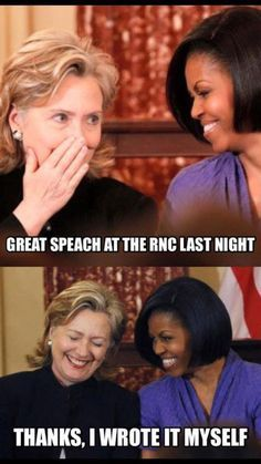 The funniest Internet memes skewering Melania Trump over her plagiarized Republican Convention speech.: Great Speech at the RNC Obama Funny, Republican Convention, Barrack Obama, Obama And Biden, Funny Memes, Funniest Memes, Hilarious, Before Us, Funny Kids