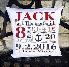 Birth Announcement Pillow for Baby Boys Nursery - Nautical Anchor - Includes Personalized Pillowcase and Pillow Insert