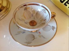 1950s Winterling porcelain coffee cup and saucer - Pink Sister