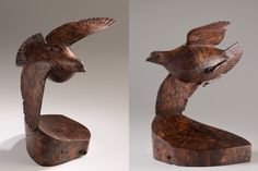 John Bryan Woodcarving & Sculpture - handcarved sculpture of a Bob-White quail in black walnut root