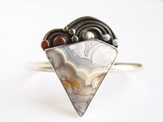 Agate - Sterling Silver and Copper Open Bangle Cuff Bracelet by Rachel M Post