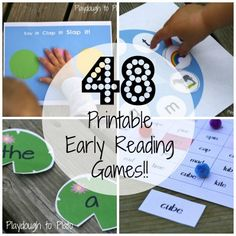 Just print, cut and play. 48 printable reading games teach kids rhyming, syllable segmenting, letter names and sounds, sight words and much, much more. {Playdough to Plato}
