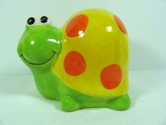 """Collectible Ceramic Turtle Handpainted Coin Bank  / Green Yellow Orange 4"""" Tall"""