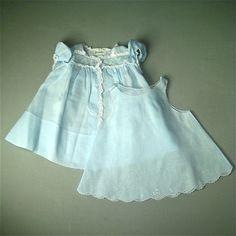 Vintage Feltman Day Gown Slip Dress Blue Handmade Cotton Lace Baby 1950s