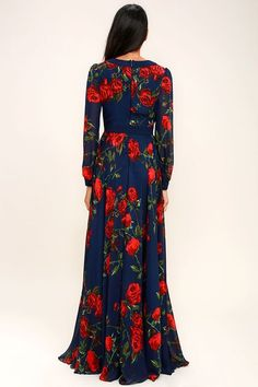 You'll be looking for excuses to show off the Blossom Buddy Red and Navy Blue Floral Print Maxi Dress! Blue floral print maxi dress has a plunging V-neck and sheer long sleeves. Floral Print Maxi Dress, Boho Dress, Dress Up, Dress Long, Floral Dresses, Simple Fall Outfits, Fall Fashion Outfits, Fashion Clothes, Trendy Dresses