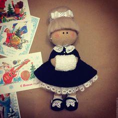 Купить Куколка в ретро стиле - чёрно-белый, кукла ручной работы, кукла, кукла в подарок ♡
