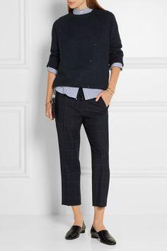 Midnight-blue and gray stretch-wool twill Pull on 98% wool, 2% elastane; trim…