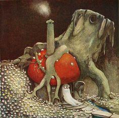 Illustration by John Bauer -- Swedish artist John Bauer, Village Miniature, Mushroom Art, Children's Book Illustration, Illustration Styles, Book Illustrations, Gnomes, Dreamworks, Illustrators