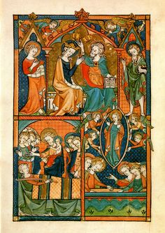 "The dormition, assumption, and coronation of the Virgin Mary from the Ramsey Psalter, a tenth century illuminated English manuscript. Note the similitude between the dormition scene in the bottom left pane and the Byzantine form. (And yes, my Roman Catholic brothers and sisters, Mary's ""falling asleep"" depicted here is natural death as indicated by her separated soul preserved in the arms of her Son.)"