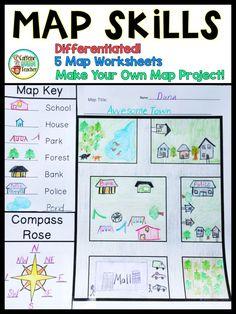 3rd Grade Social Studies, Kindergarten Social Studies, Teaching Social Studies, Map Worksheets, Social Studies Worksheets, Social Studies Activities, Printable Worksheets, Teaching Map Skills, Teaching Maps
