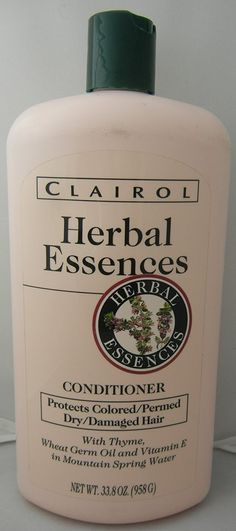 Clairol Herbal Essences oz Conditioner with Thyme, Wheat Germ Oil & Vitamin E for Dry/damaged/colored/permed Hair Dry Damaged Hair, Wheat Germ, Herbal Essences, Permed Hairstyles, Hair Shampoo, Hair Conditioner, Vitamin E, Vodka Bottle, Herbalism