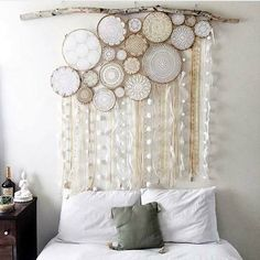 This is a giant one using a number of different size loops. Cover the whole wall area behind your bed and make lovely décor.