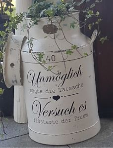 Declaration furniture tattoo white stamp suitcase, cupboard, for dairy … Shabby wasserf.Declaration furniture tattoo white stamp suitcase, cupboard, for dairy … Decoupage, Chabby Chic, Shabby Look, Milk Cans, Waterproof Stickers, Shabby Vintage, Crafty Projects, Cushions On Sofa, Hand Lettering
