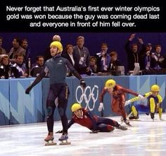 """Straya!"" Dude...just ruined one of my fave Olympic moments ever...to be fair, he could have caught up!"