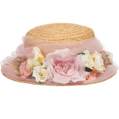 Girls Straw Hat with Pink Tulle & Flowers, Grevi, Girl