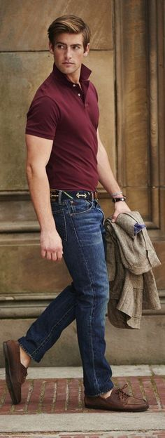 Burgundy Polo styled with Blue Denim Jeans and a pair of Brown Leather Boat Shoes