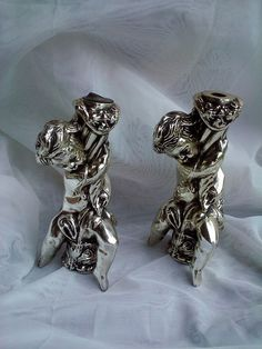 2 Vintage Cast Metal Cherub lamp spacers breaks parts Silver & Gold tones