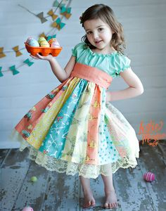 The perfect dress for your Georgia peach to wear for Easter and Spring! Gorgeous fabrics with bunnies, birds, balloons and bicycles are tied