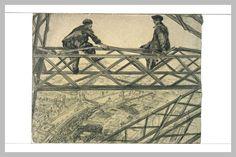 Deux Ouvriers assis sur une ferme de la Tour Eiffel de Paul Renouard (1845-1924), dessin au crayon noir, au fusain et au lavis gris, 54,8 x 71 cm, Musée du Louvre, Département des Arts Graphiques à Paris.
