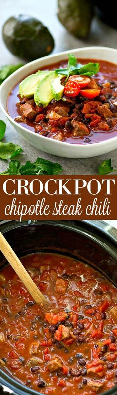 Let your crockpot make your game-day chili for you! This flavorful steak chili is unbelievably cozy and the beef is fall-apart tender.---Only 10 minutes prep time, then your crockpot does all the work!