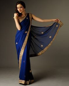 royal blue sari - looks very much like the one I have - love it! Indian Attire, Indian Wear, Indian Dresses, Indian Outfits, Desi Clothes, Indian Clothes, Indian Couture, Saree Styles, Bollywood Fashion