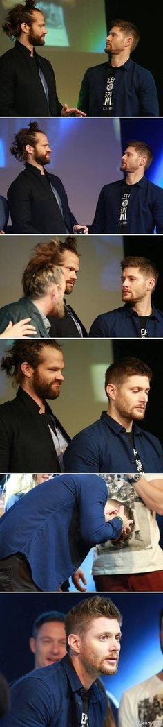 Jensen trying to fit in with the big boys and their man buns. Lol