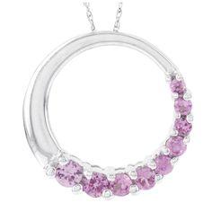 H Star 10k White Gold Created Sapphire Circle Pendant, Women's