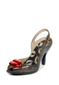 NEW IN: The Vivienne Westwood Anglomania Melissa Lady Dragon with Lips slingback in smoke. Also available in pink and white.