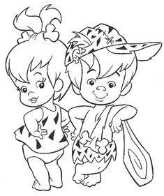 the flintstones baby girl pebbles baby boy bamm bamm rubble coloring pages