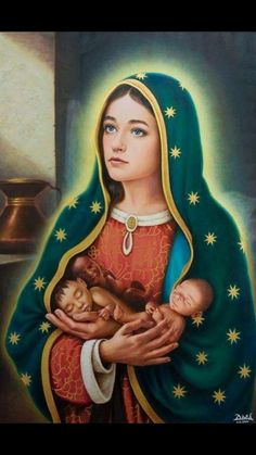 Our Lady of Guadalupe with blue eyes! Que Hermosa! Catholic Art, Catholic Saints, Religious Art, Religious Pictures, Jesus Pictures, Blessed Mother Mary, Blessed Virgin Mary, Mother Mother, Immaculée Conception