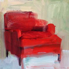 liza Hirst red chair painting, fine art, artwork