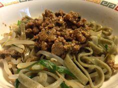 冷やしパクチー麺はじめました Spaghetti, Beef, Ethnic Recipes, Kitchen, Food, Meat, Cuisine, Kitchens, Ox