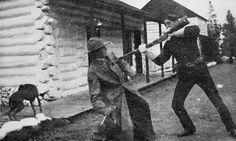 North-West Mounted Police (later RCMP) practicing with bayonet and knife ca. 1900.