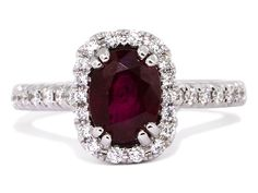 Ruby and Diamond Halo Ring.