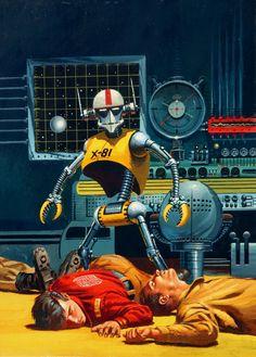 "Dedicated to all things ""geek retro:"" the science fiction/fantasy/horror fandom of the past. Science Fiction Kunst, Cyberpunk, Arte Art Deco, Arte Sci Fi, Pub Vintage, 70s Sci Fi Art, New Retro Wave, Arte Robot, Retro Robot"