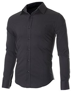 FLATSEVEN Men's Slim Fit Casual Button Down Dress Shirt Long Sleeve (SH600) Black, XL FLATSEVEN http://www.amazon.com/dp/B00OWXYDSQ/ref=cm_sw_r_pi_dp_RYe5ub1GQQHWJ #FLATSEVEN #Men's #Casual Button Down  #mens Shirts #Shirts