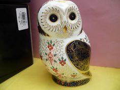 """Royal Crown Derby Paperweight """"OLD IMARI OWL"""" 1st Quality & with ..."""