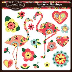 Fantastic Flamingo Clip Art Digital Collage Sheet Clipart for cards, stationary, invitations, scrapbooking and all paper crafts