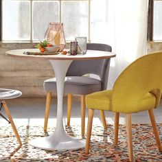 Wood and White Metal Leilani Tulip Dining Table - v2