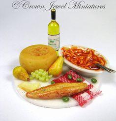 OOAK ARTIST 112 Pasta Olives Wine Bread & by CrownJewelMiniatures, $26.99