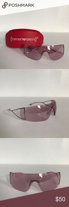♦️Emporio Armani Product Red Sunglasses♦️ Pre-owned. In excellent condition with no scratches, nicks, or broken parts. Really cool shield style sunglasses that have a futuristic look. As seen on Bono from U2. Comes with the original case and dust cloth. Open to offers  NO LOWBALLING Emporio Armani Accessories Sunglasses