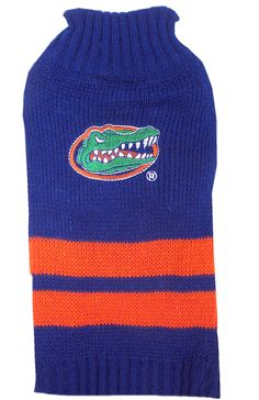 Keep your pup warm and cozy with this collegiate pet sweater! This knitted turtleneck sweater is embroidered with the Florida Gators logo and team colors. Sweater is made of acrylic and is machin Florida Gators Logo, Dog Sweaters, Warm And Cozy, Drink Sleeves, Knitted Hats, Beanie, Turtle Neck, Dogs, Outfits