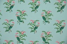 1950's Vintage Wallpaper Lily of the Valley Blue with pink and blue ...