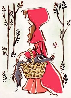 """""""Little Red Riding Hood"""" illustration by David Gilson Art Disney, Disney Kunst, Little Red Ridding Hood, Red Riding Hood, Disney Drawings, Cute Drawings, Illustrations, Illustration Art, Cute Art"""