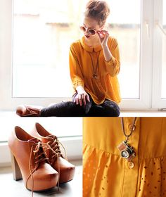 #SALE Yellow Long Sleeve Hollow Buttons Loose Blouse Shop the #SALE at #Sheinside